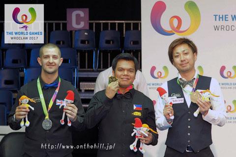2017ワールドゲームズ in ポーランド表彰式。左から銀メダル:ショウ、金メダル:ビアド、銅メダル:大井 Photo :  On the hill !
