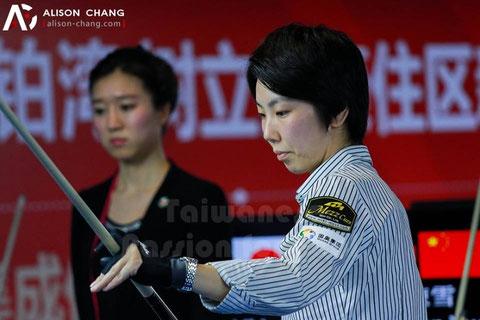 Chihiro Kawahara goes into semifinals of World Ladies 9-ball Championship. Photo courtesy of Alison Chang
