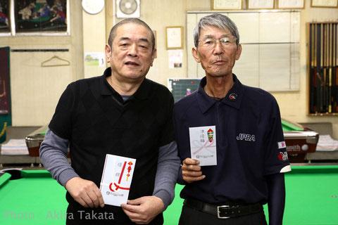JPBAシニアオープン上位2名。左から、優勝:道川、2位:石川