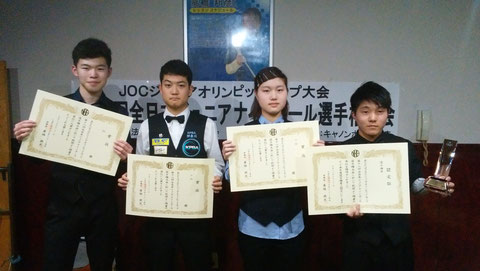 Kouki Sugiyama (right) won All Japan Junior 9-ball