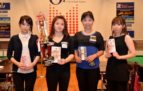 左から、3位夕川、優勝呉、2位李、3位和泉