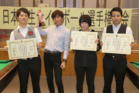 「高校生・大学生」部門優勝は劉之渝(左2)
