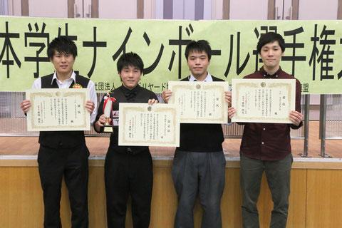 「大学生・高校生」部門優勝は杉山功起(左2)