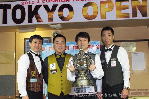 3C東京オープン上位入賞者左から:3位梅田竜二、2位趙在浩、優勝新井達雄、3位鈴木剛