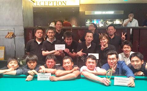 第1回大会は『バグース銀座B』チーム(前列右側)が優勝