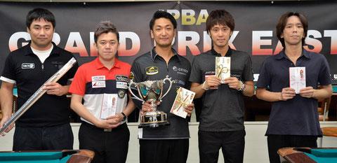 Toru Kuribayashi (center) won JPBA Grand Prix East stop #5, Tokyo.