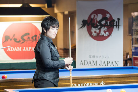 優勝:東内那津未 Natsumi Higashiuchi won 19th Ladies 3-cushion Adam Emerald Cup Photo courtesy of Carom Seminar