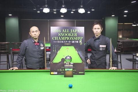 Tetsuya Kuwata (right) won 15th All Japan Snooker Championship in Tokyo