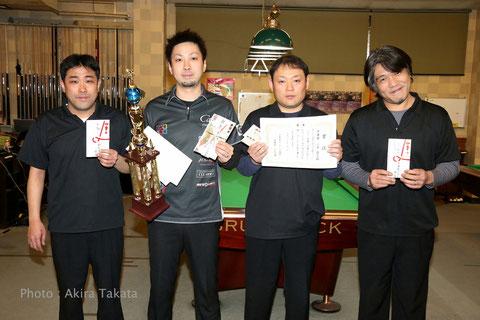 京都オープン上位入賞者左から:3位野田匡則、優勝大井直幸、2位小原嘉丈アマ、3位神箸久貴