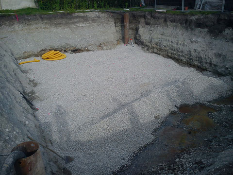 Die Baugrube mit den zwei Pumpen