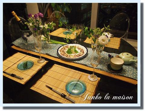 とっても素敵なご夫婦をお招きし、夏のテーブルセッティングと和のおもてなしお料理作りを楽しみました^^