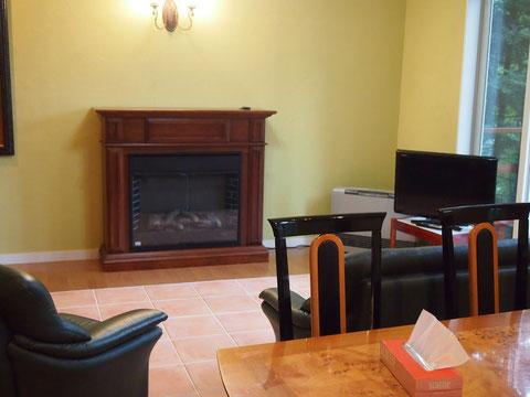 家具付きで なかなか住みやすそう^^ 飾りの暖炉がかわいい。左側には大きな絵も