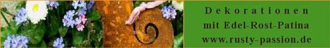Gartendeko aus Eisen mit Rostpatina