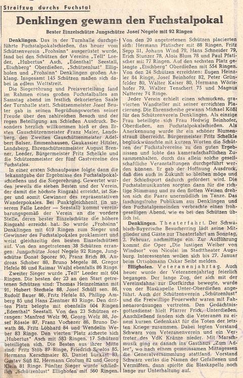 3. Fuchstalpokalschießen 1964 in Denklingen