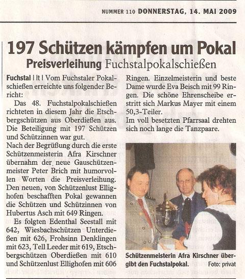 48. Fuchstalpokalschießen 2009 in Oberdießen