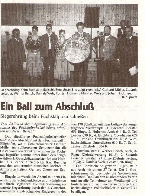 36. Fuchstalpokalschießen 1997 in Ellighofen