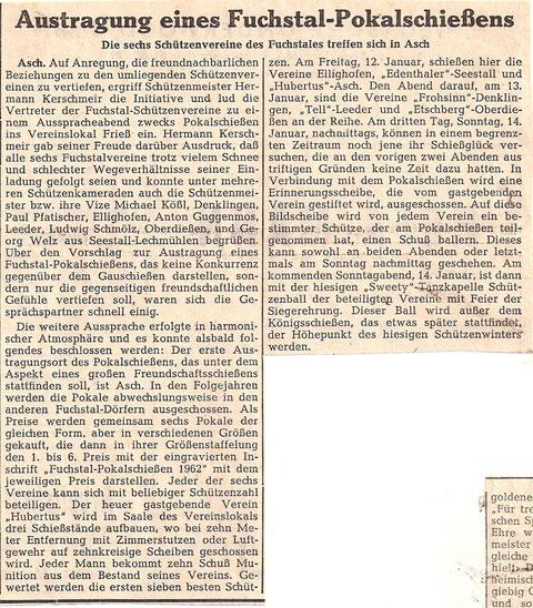 Gründung Fuchstalpokalschießen 1962 durch Hermann Kerschmeir