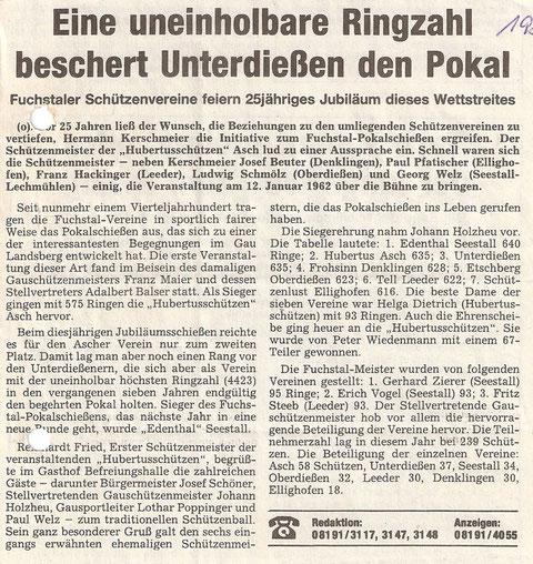"""26. Fuchstalpokalschießen 1987 in Asch """"25-jähriges Jubiläum"""""""