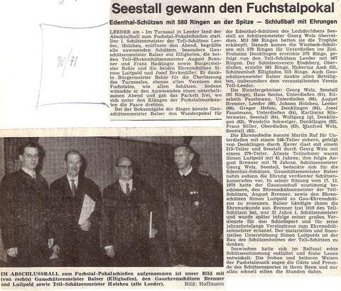 10. Fuchstalpokalschießen 1971 in Leeder