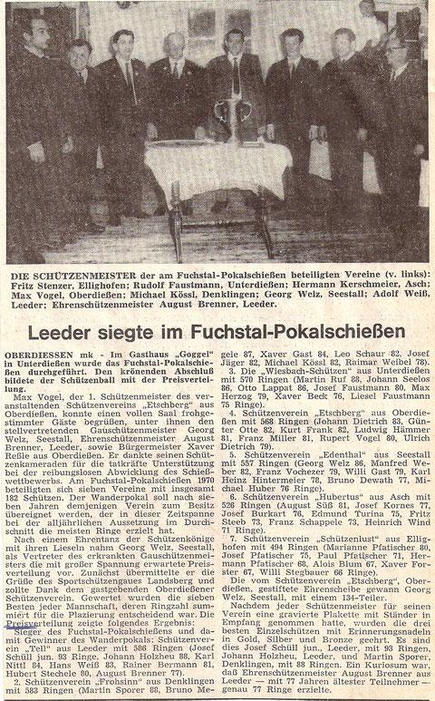9. Fuchstalpokalschießen 1970 in Oberdießen