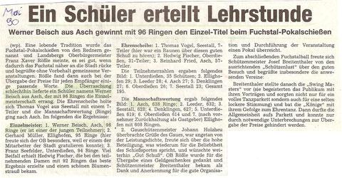 29. Fuchstalpokalschießen 1990 in Ellighofen