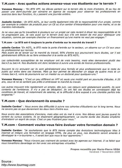 """Article du magazine spécialiste """"Tourmag"""" de Novembre 2008"""