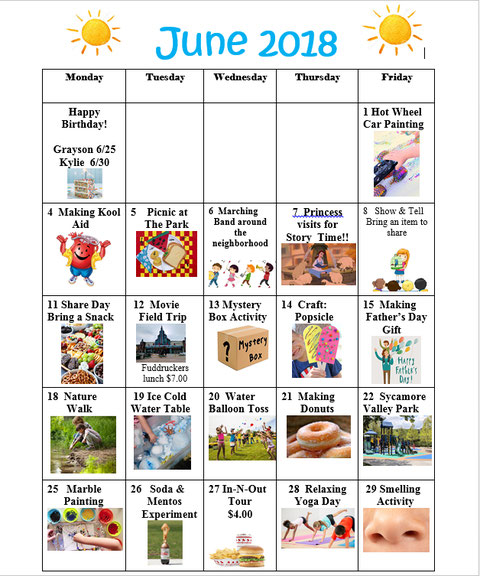 Sample Calendar  NormaS Kiddie Preschool  Daycare  San Ramon