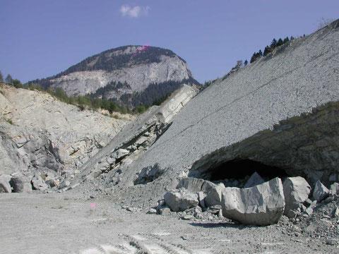 """Bad Häring, Mergelbruch (im Hintergrund der Große Pölven): """"Oberer Zementmergel"""" mit diverser Bivalven- und Gastropodenfauna (Photo Heyng, September 2003)"""