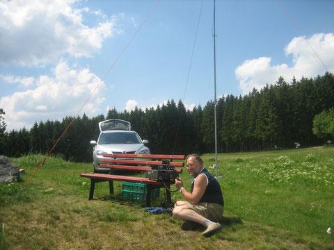 DL1ASF/p beim Funkbetrieb oberhalb von Lauenstein