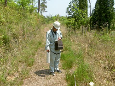 自然公園内での断層調査