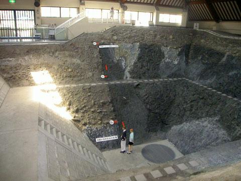地震断層観察館内のトレンチ展示