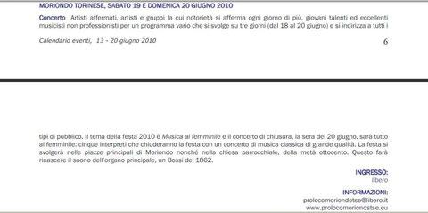 Calendario eventi 13-20 giugno - Regione Piemonte