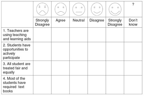 Chart 5: Smiley scale assessment form