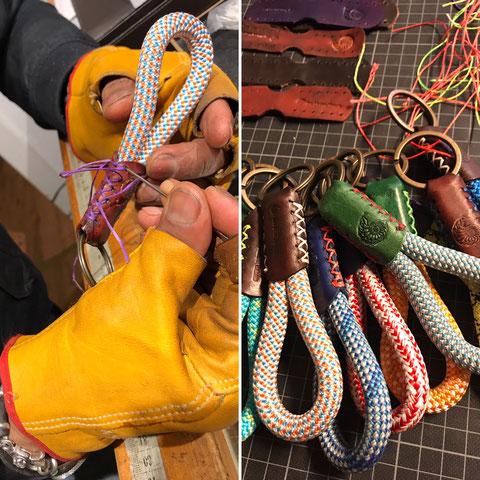 handgenäht Tampen und Kletterseil mit Leder colourfull