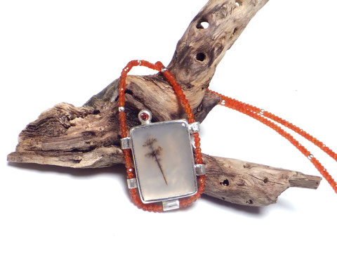 Halskette Dendritenopal | Dendritenquarz | Karneol | Mandaringranat #wuestenblume