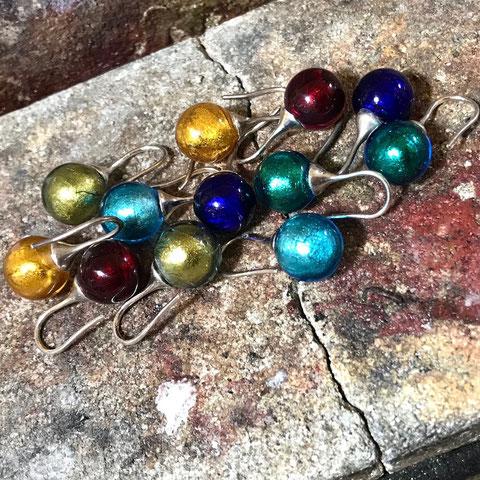 Ohrringe Silber Muranoglaskugel 12 mm klassisch