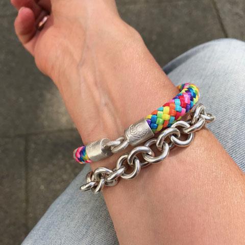 Sportliches Armband Paracord Seil mit Silberverschluss