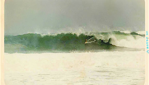 Gary at Indicators, West Java, 15ft, August 89... just about to cop a beating...