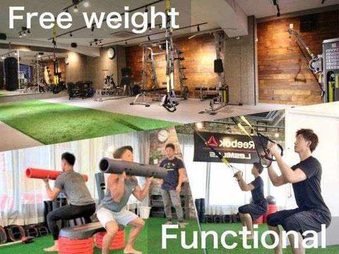 大阪のパーソナルトレーニング フリーウエイト、ファンクショナル、コンディショニング、トレーニングバリエーション豊富