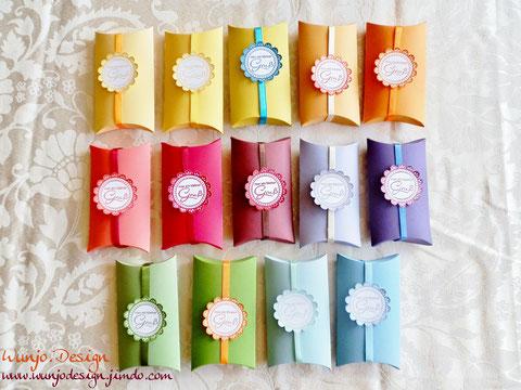 PillowBoxen mit Band und kleinem Gruß