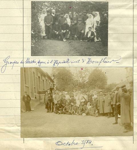 Hôpital de Honfleur, octobre 1914. (Le point rouge correspond à au grand-père de Mme Ch. Cardin, Ch. Lecoy)