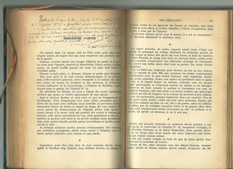 Mention manuscrite dans l'exemplaire de Mes Mémoires de Ch. Lecoy