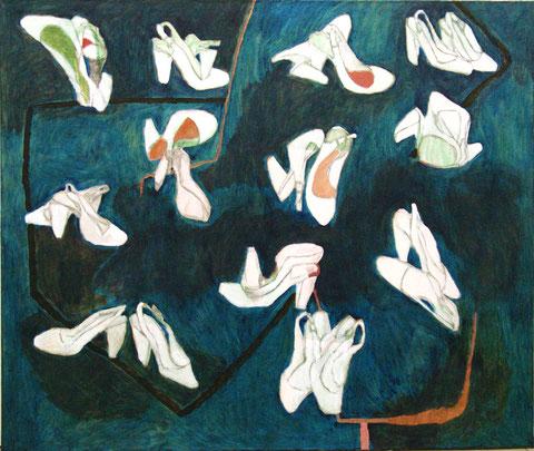 """Eva Hradil """"Kamasutra Schuhe"""" 2011-2014, Öl, Eitempera/Bleistift HKG, LW, 110 x 130 cm, im Besitz der Artothek Niederösterreich und kann dort entliehen werden"""