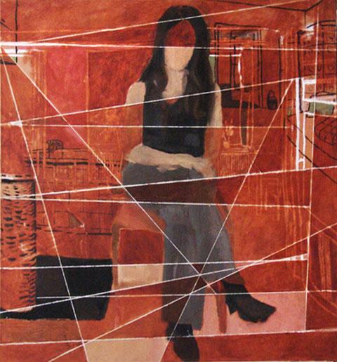 """Eva Hradil """"Lichteinfall wie bei Vermeer"""" 2005-2013, Öl und Eitempera /LW, 140 x 130 cm"""