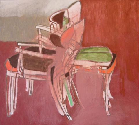 """Eva Hradil """"scharf stellen"""" 2011 Eitempera/LW, 80 x 90 cm"""