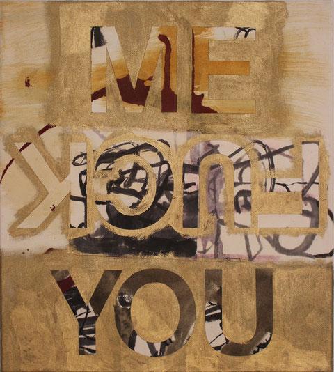 "Eva Hradil ""me you fuck"" 2016 Eitempera und Papier auf Molino, 50 x 45 cm"
