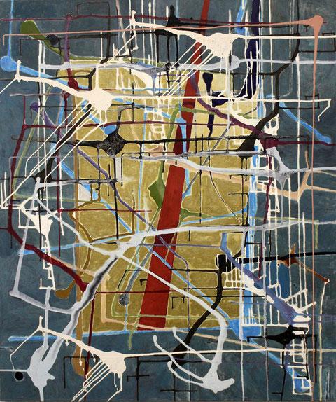 """Eva Hradil """"O.T."""" oder """"Goldenes Fenster"""" 2014, Eitempera/HKG/LW, 130 x 110 cm"""