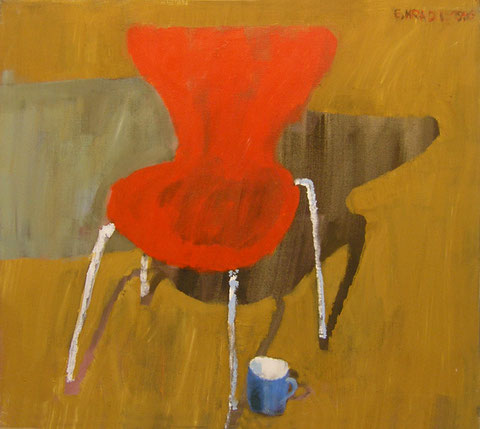 """Eva Hradil """"Roter Sessel mit Schatten"""" 1996, Pigmente und Acylbinder auf LW, 80 x 90 cm, im Besitz der Artothek Niederösterreich und kann dort entlehnt werden"""