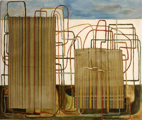 """Eva Hradil """"Zwei mit Linien"""" 2015-2016, Eitempera und Textil auf Molino, 110 x 130 cm"""