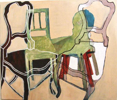 """Eva Hradil """"Land- und Stadtpaar"""" 2009-2012 Eitempera und Öl/HKG/LW, 110 x 130 cm"""